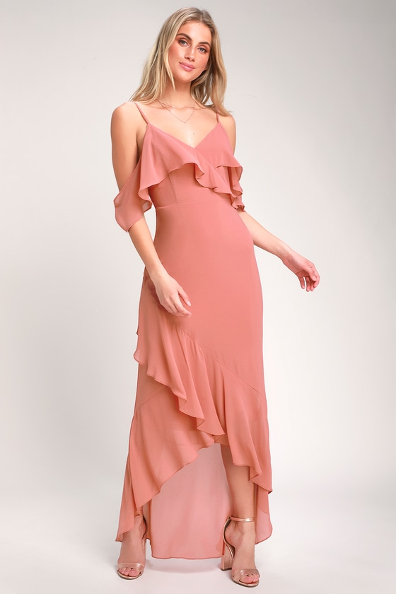 ca735ce035f97 Lovely Rusty Rose Dress - Off-the-Shoulder Dress - Maxi Dress