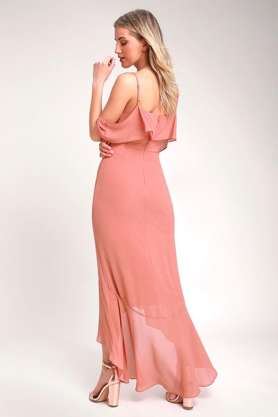 75547b5ad46 Lovely Rusty Rose Dress - Off-the-Shoulder Dress - Maxi Dress