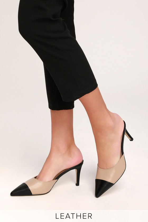 276f020c462 Maxine Nude and Black Leather Pointed Toe Mules