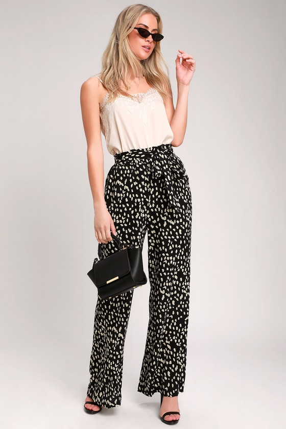 230f30e741b3 Trendy Black Leopard Print Pants - Leopard Print Wide-Leg Pants