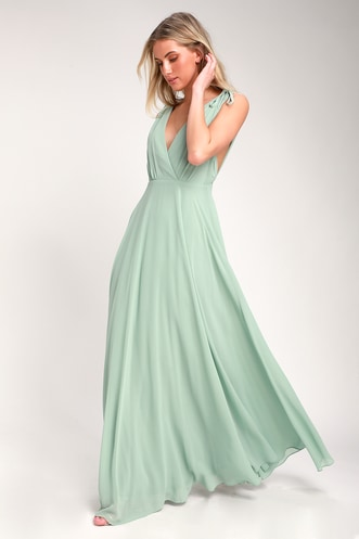 8aae0703bc Dance the Night Away Sage Green Backless Maxi Dress