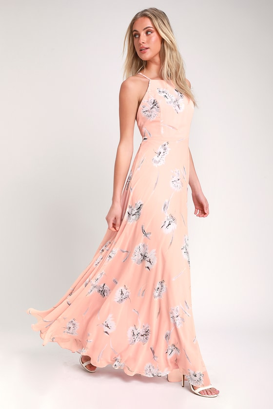d140948abc113 Glam Blush Pink Dress - Blush Pink Maxi Dress - Floral Maxi Dress