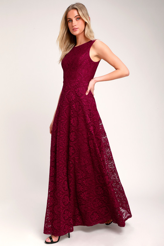 LUCIANA BURGUNDY LACE SCOOP BACK MAXI DRESS