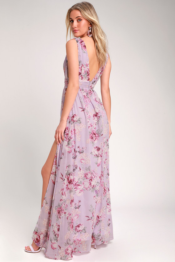 8c1d084f1286e2 Stunning Lavender Dress - Floral Print Maxi Dress - Gown
