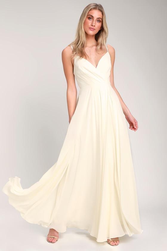 63920d280 Lovely Cream Maxi Dress - Cream Maxi - Gown - Bridesmaid Dress