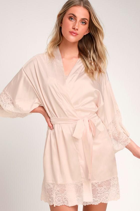 0857179e1ff5a Sexy Blush Robe - Satin Robe - Lace Robe - Pajama Robe