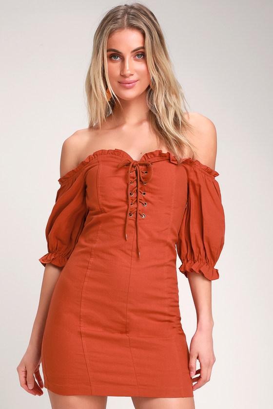 2f5aa7bf848 Cute Terra Cotta Dress - Off-the-Shoulder Dress - Lace-Up Dress