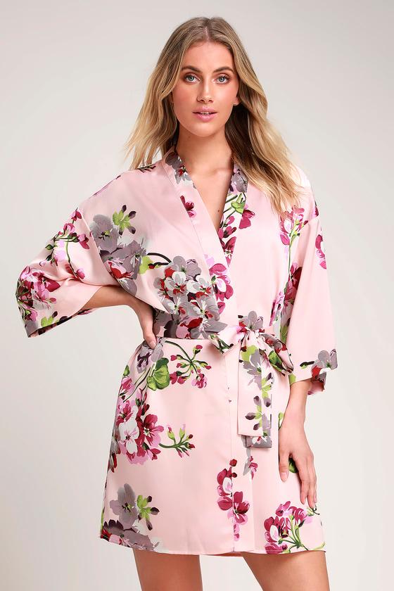 003d132870 Lovely Blush Pink Floral Print Robe - Satin Robe - Short Robe