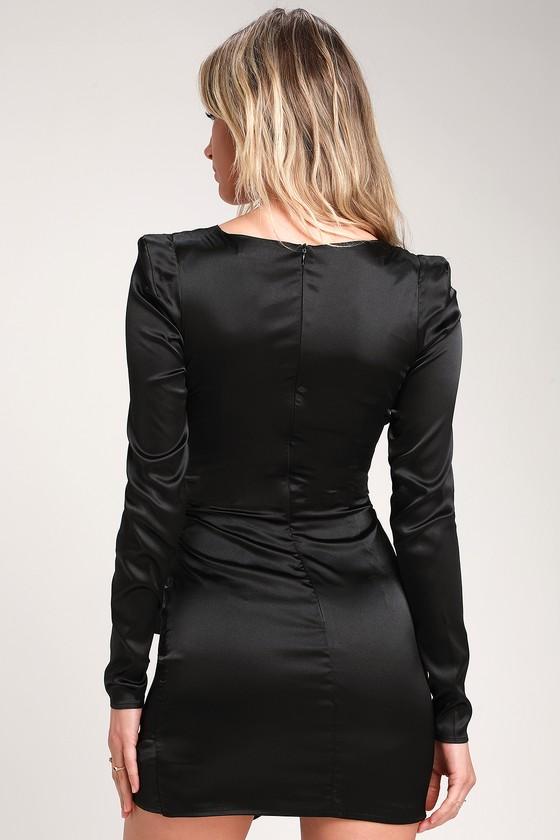 660037f7 Sexy Black Dress - Satin Mini Dress - Satin Cutout Mini Dress