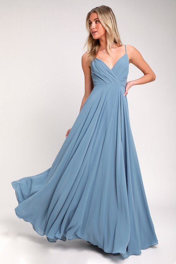 9c1cccad023 Lovely Blue Maxi Dress - Slate Maxi - Gown - Bridesmaid Dress