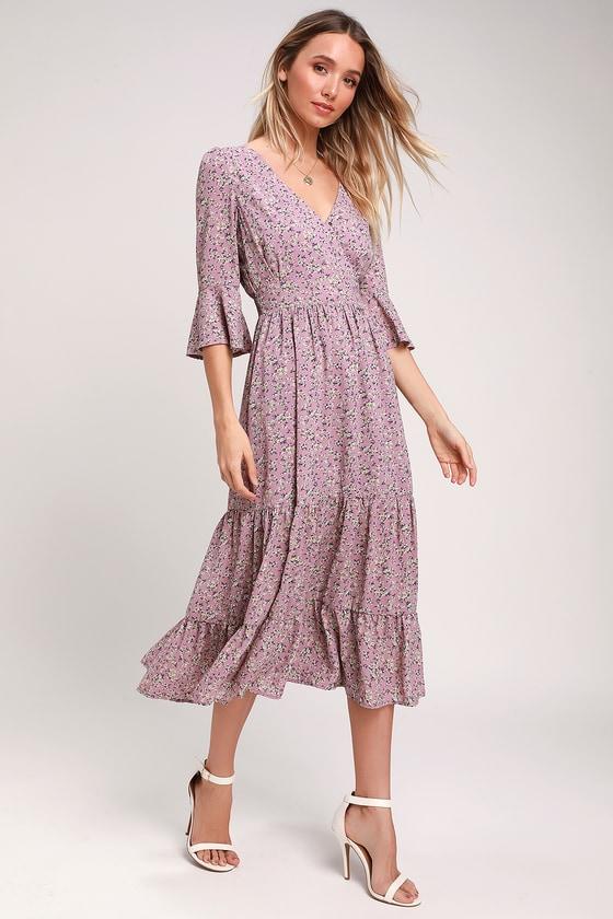 f333a1199e Where the Wind Blows Dusty Lavender Floral Print Midi Dress