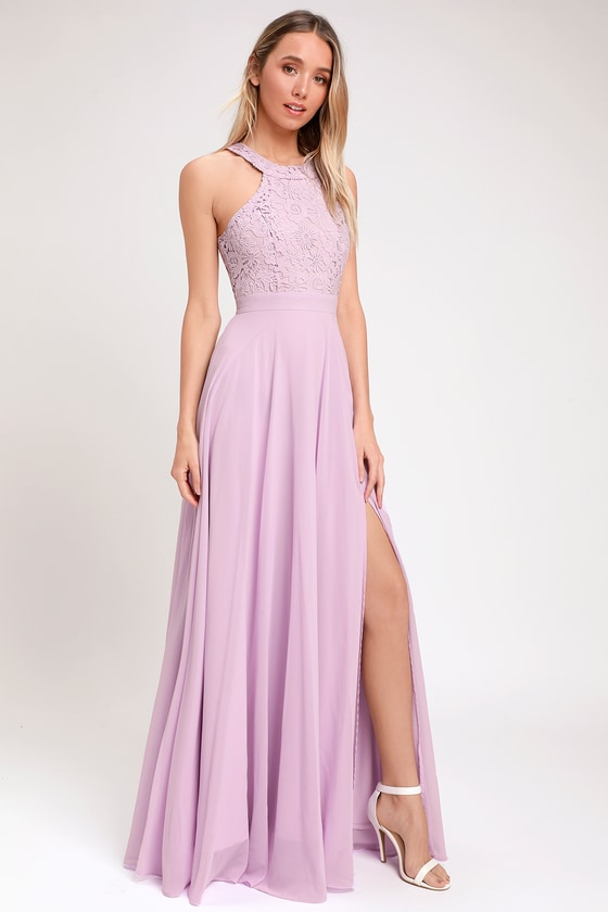 1d73479b8f23 Elegant Lavender Maxi Dress - Lace Dress - Halter Maxi Dress