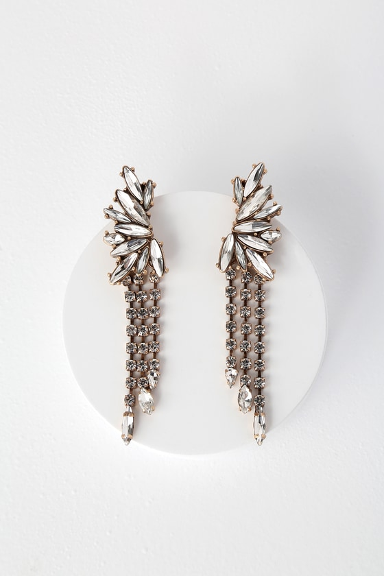 610343a2b01 Stunning Gold Earrings - Rhinestone Earrings - Statement Earrings