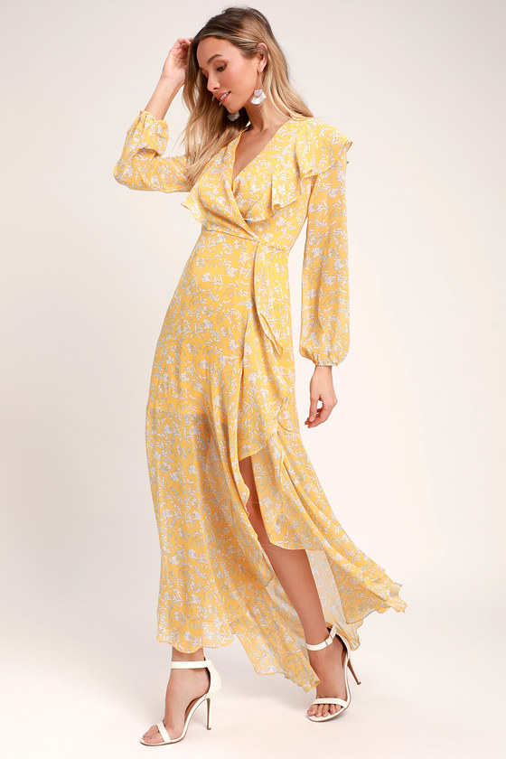 3310f66ada6 Lovely Yellow Floral Print Dress - Maxi Dress - Ruffled Dress