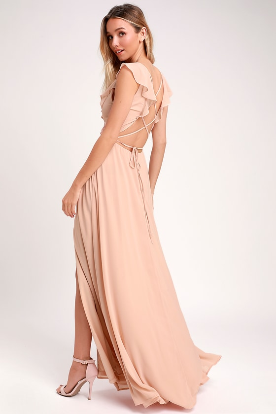 4e28e69008 Lovely Blush Maxi Dress - Ruffled Maxi Dress - Lace-Up Maxi Dress