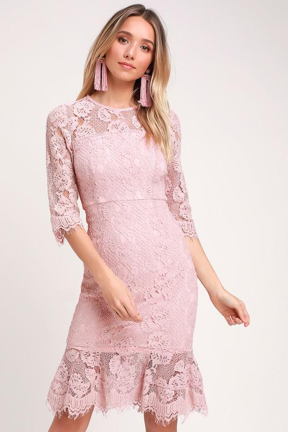20f70608cc27 Lovely Blush Lace Dress - Lace Bodycon Dress - Lace Midi Dress