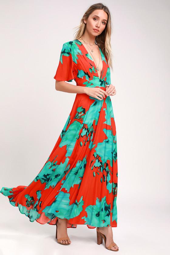 b88cb29ec95eb6 On the Road Temptress - Red and Teal Maxi Dress - Maxi Dress