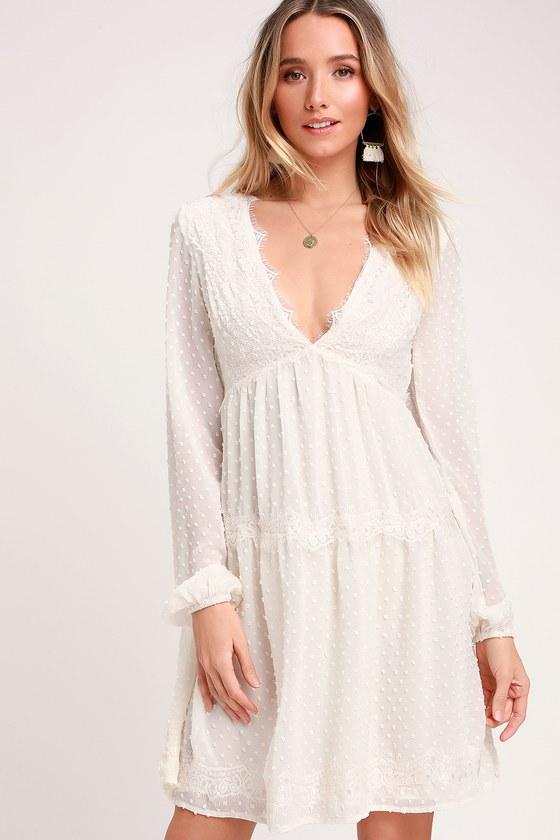 33dc6d378 Lovely White Dress - Swiss Dot Dress - Lace Dress - Dress