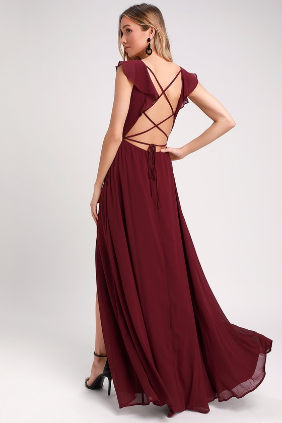 f7f863494 Burgundy Maxi Dress - Ruffled Maxi Dress - Lace-Up Maxi Dress