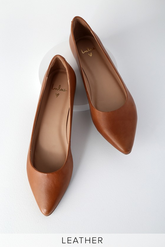 Cognac leather flats for graduation