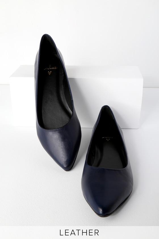 8aeb3395e Lulus Navy Flats - Genuine Leather Flats - Pointed Toe Flats