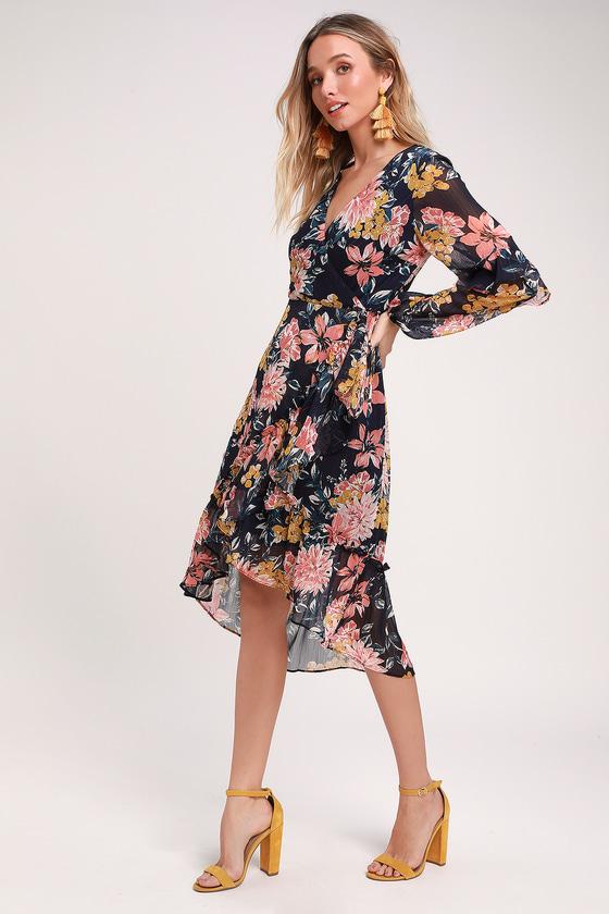 d2f61cfc78b Adelyn Rae Midi Dress - Blue Floral Dress - Long Sleeve Dress
