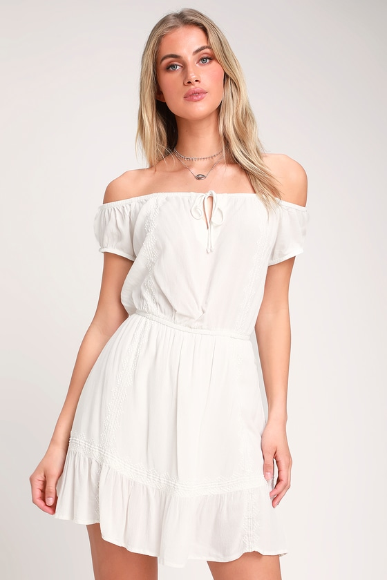 3d065d83eb Arena Ivory Embroidered Off-the-Shoulder Mini Dress