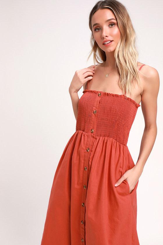 e4b7202573e Cute Terra Cotta Midi Dress - Smocked Dress - Button-Front Dress