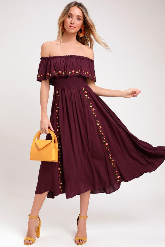 762e91dc32cb Boho Off-the-Shoulder Dress - Plum Purple Embroidered Midi Dress