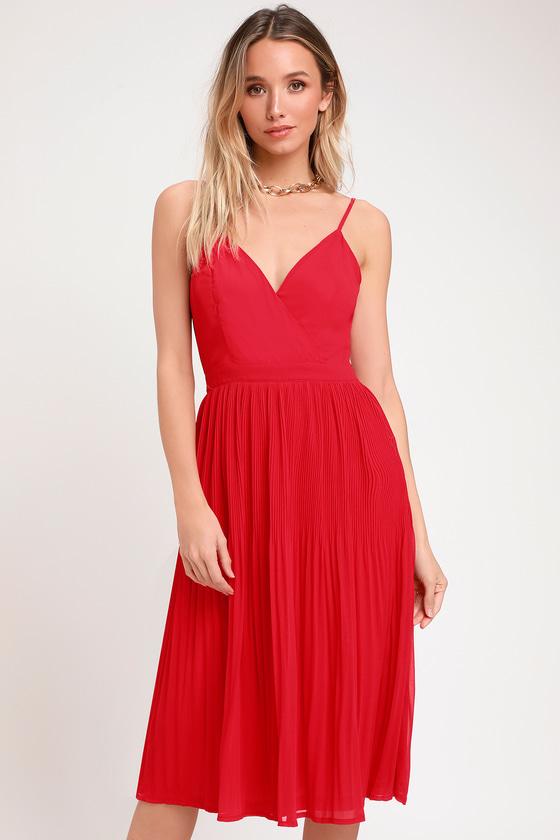 018e2ed3aa0 Chic Red Midi Dress - Pleated Dress - Pleated Midi Dress