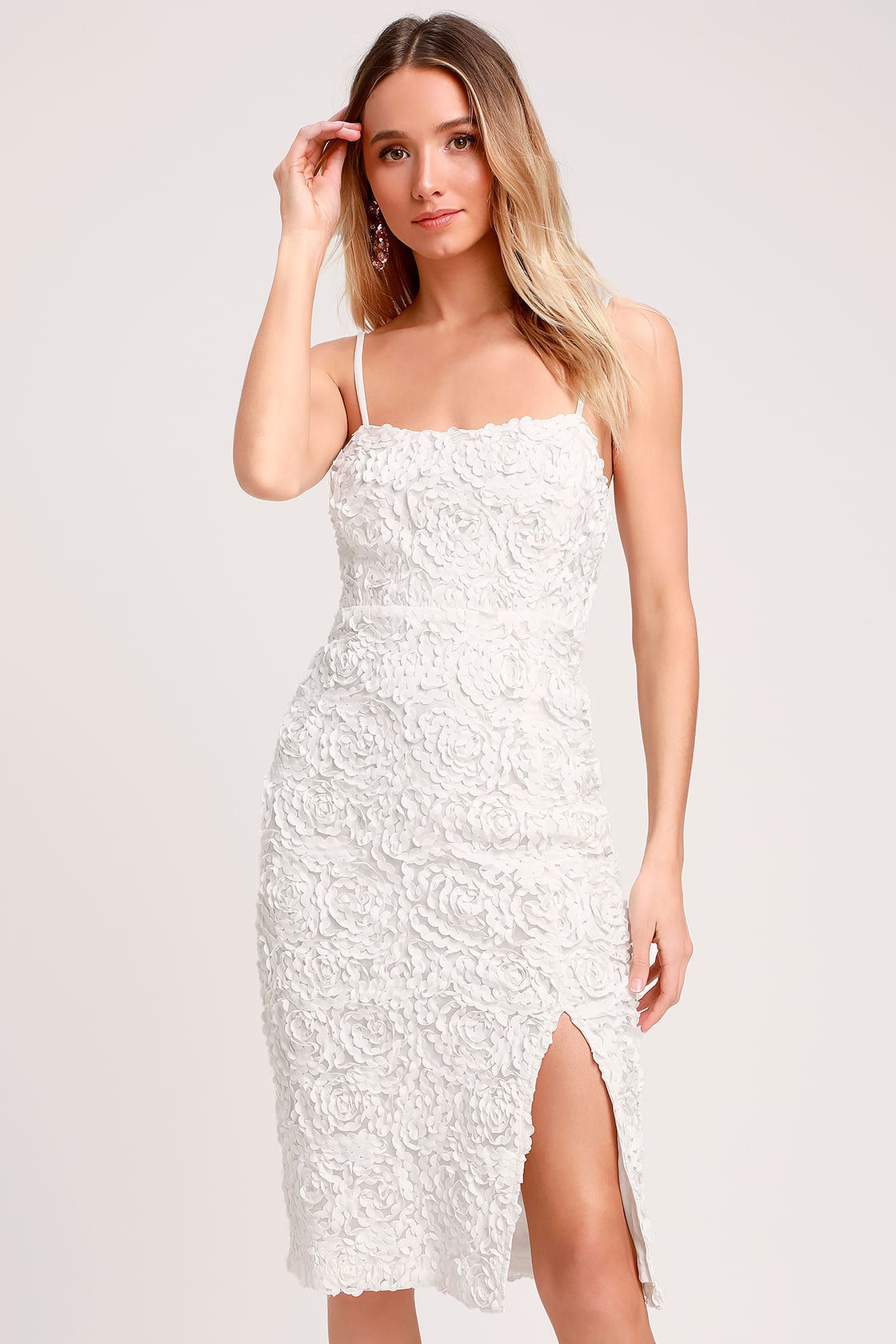 Blissful Moments White Textured Floral Midi Dress