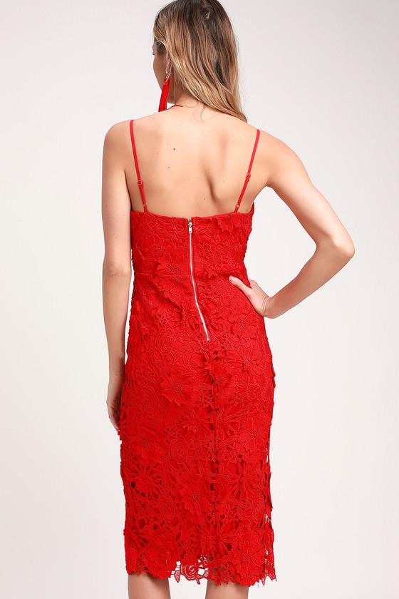 ece154ff0e6 Cute Red Dress - Lace Midi Dress - Crochet Lace Dress