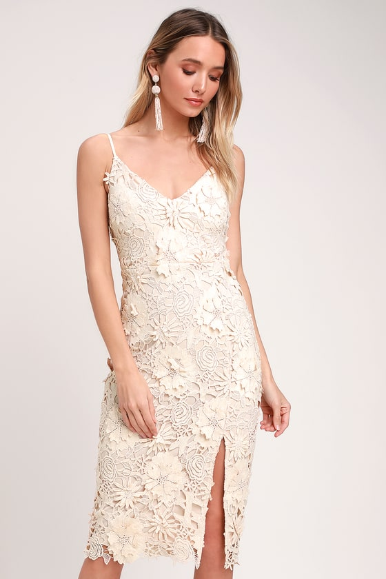 06bb3b335215 Cute Cream Dress - Lace Midi Dress - Crochet Lace Dress