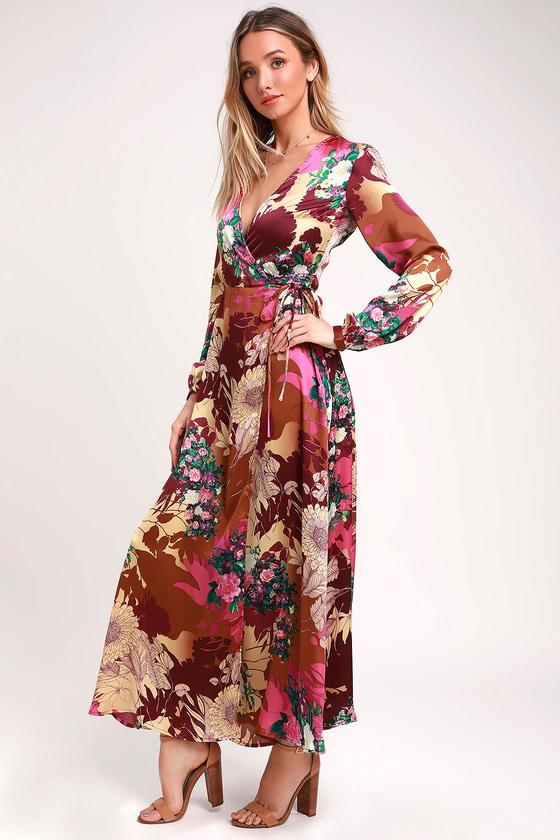 Put on a Smile Burgundy Floral Print Satin Wrap Maxi Dress - Lulus