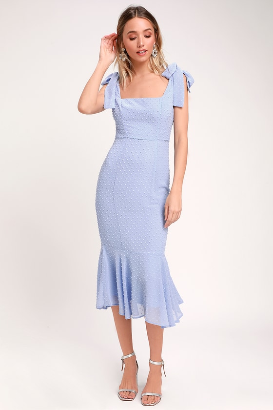 Rockabilly Dresses | Rockabilly Clothing | Viva Las Vegas Bimini Periwinkle Blue Swiss Dot Tie-Strap Midi Dress - Lulus $56.00 AT vintagedancer.com