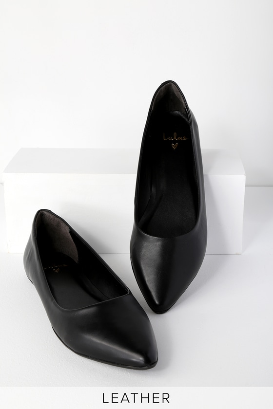 Genuine Leather Flats - Pointed Toe Flats