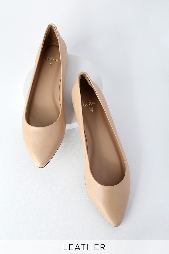888c05a1bcf7 Lulus Nude Flats - Genuine Leather Flats - Pointed Toe Flats