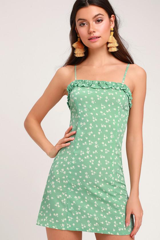 7d8fdd52b552 Amuse Society Julita Dress - Mint Green Dress - Floral Mini Dress