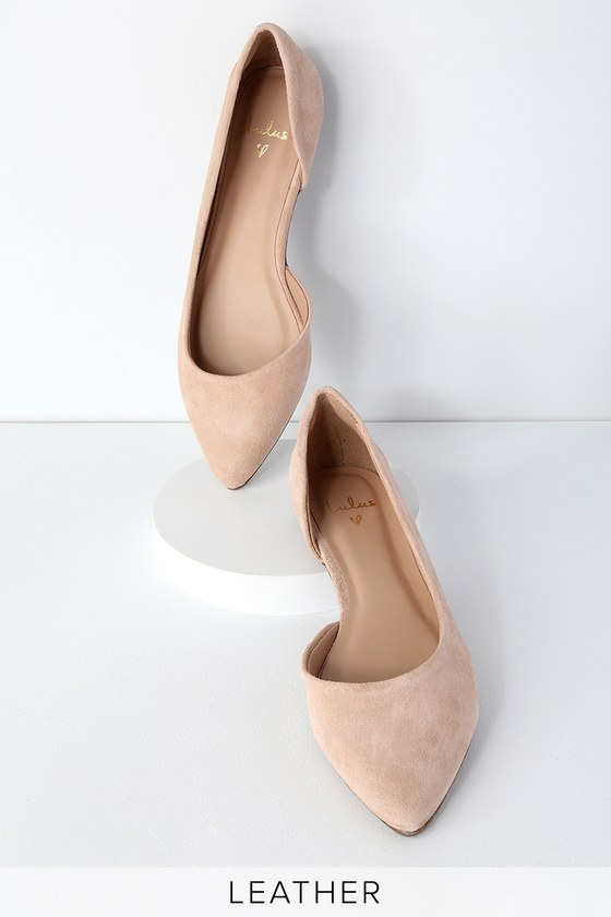 d1470543898 Chic Nude Suede Leather Flats - Leather Flats - D Orsay Flats