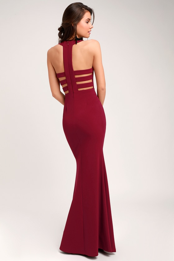Power of Wow Burgundy Backless Maxi Dress