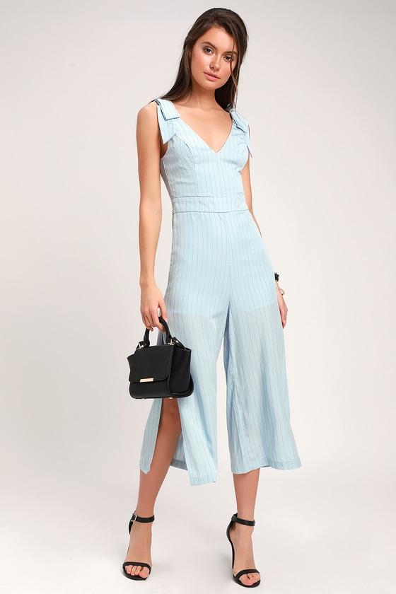 61ce60c25001 Honey Punch Jumpsuit - Light Blue Jumpsuit - Striped Jumpsuit