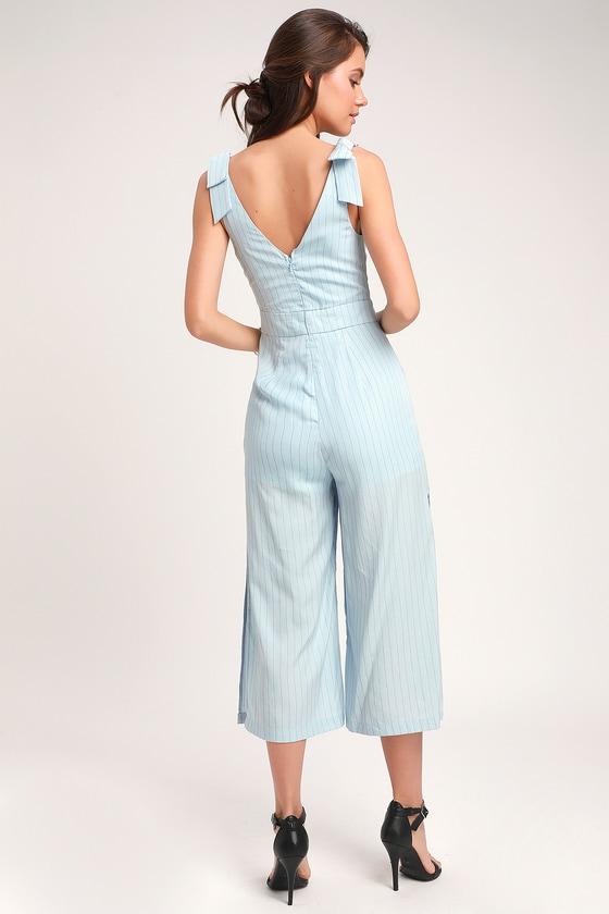 ff57d074f9d4 Honey Punch Jumpsuit - Light Blue Jumpsuit - Striped Jumpsuit
