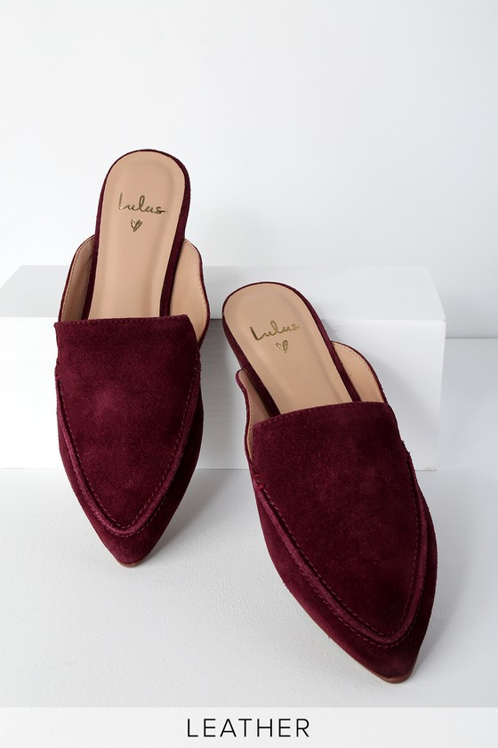 eec1f72d6a3 Chic Suede Loafers - Genuine Leather Loafers - Burgundy Loafers