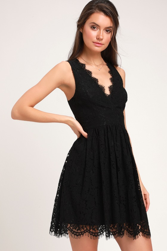 3359da7f16 Lovely Black Dress - Black Lace Dress - Black Skater Dress