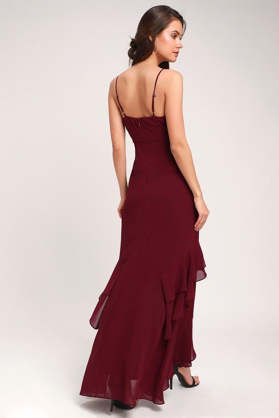 8a82cbc51aa Lovely Maxi Dress - Burgundy Maxi Dress - Ruffled Maxi Dress