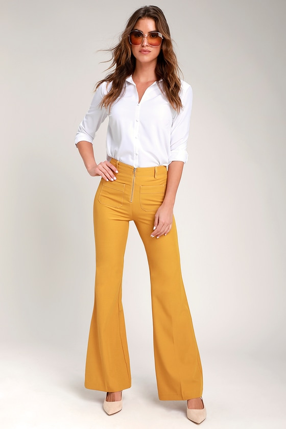 Honey Punch CANTRELLE MUSTARD YELLOW ZIP-FRONT FLARE PANTS