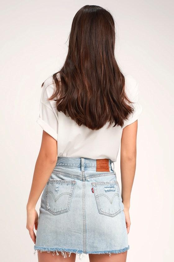 246fe1ea60 Levi's Deconstructed Skirt - Light Wash Denim Skirt - Mini Skirt