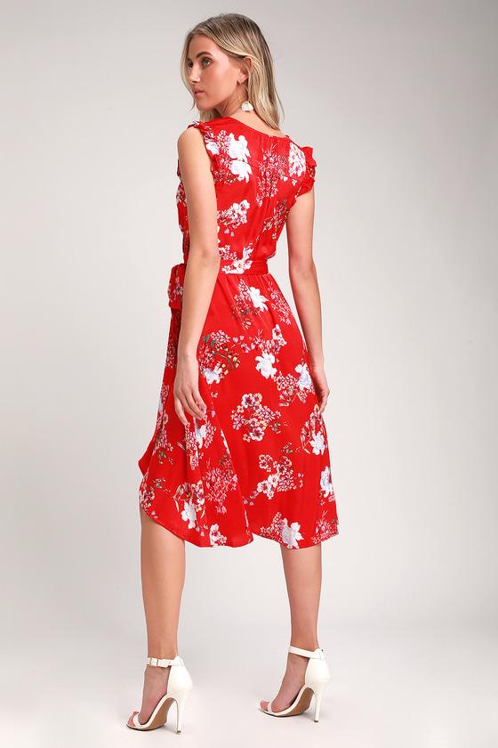 48cfb6d01a0 Pretty Floral Print Dress - Red Dress - High Low Dress
