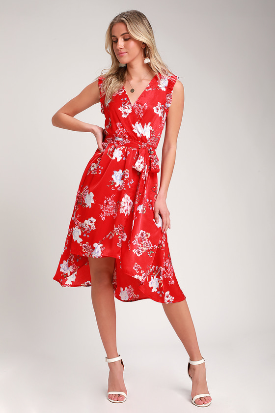 Blossom Type of Way Red Floral Print High Low Dress