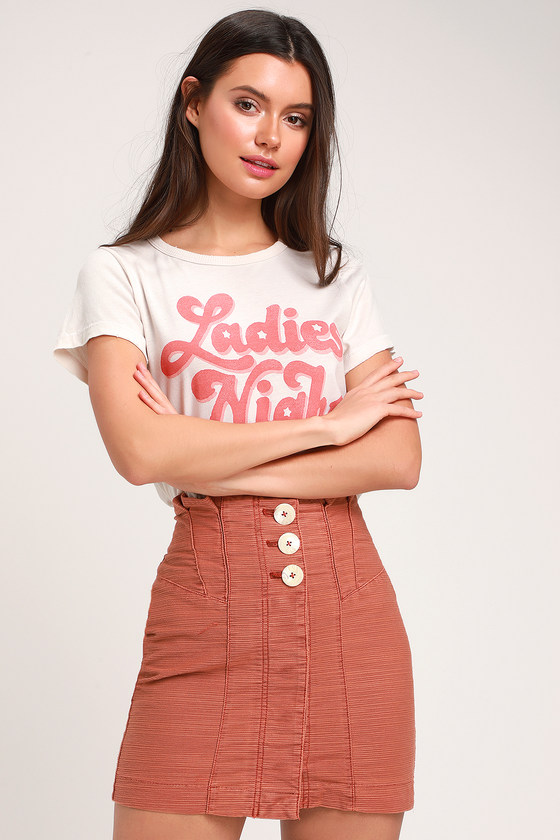 Free People EVERY MINUTE EVERY HOUR TERRA COTTA BUTTON-UP MINI SKIRT